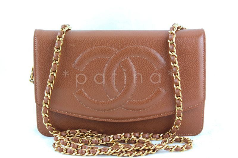 Chanel Camel Beige Caviar Timeless WOC Classic Wallet on Chain Bag, Gold HW