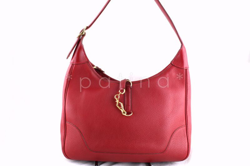 Hermes Rouge Vif Trim II Hobo Bag