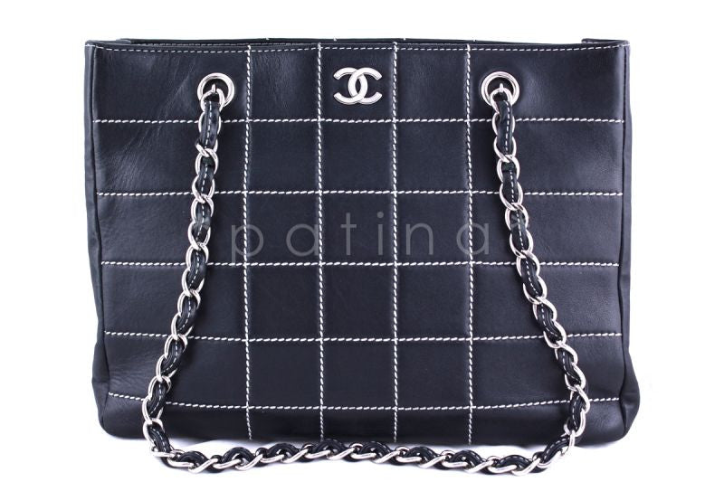 Chanel Navy Contrast Stitch Quilted Shopper Tote Bag