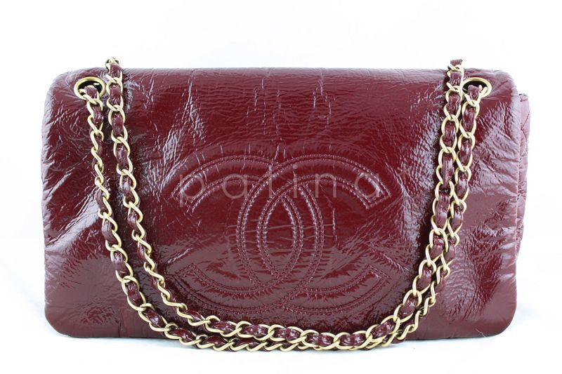 Chanel Jumbo Burgundy Red Patent Rock & Chain Classic Logo Flap Bag