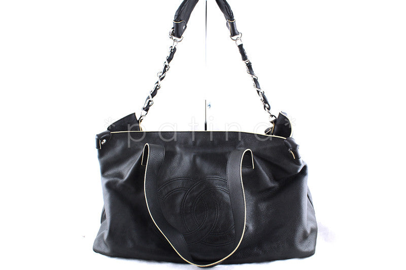 Chanel Black Jumbo Purse-Charm Edgy Logo Tote Bag