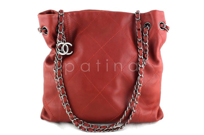 Chanel Brick Red Soft Drawstring Tall Hobo Tote Bag
