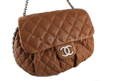 Chanel Camel Beige Large Chain Around Rounded Classic Flap Cross Body Bag