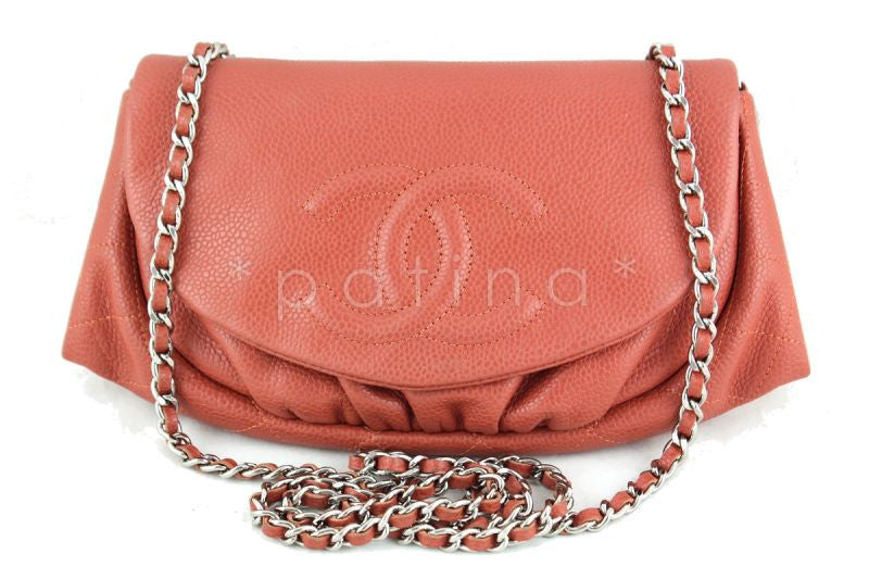 Chanel Coral Caviar Half Moon WOC Wallet on Chain Purse Bag