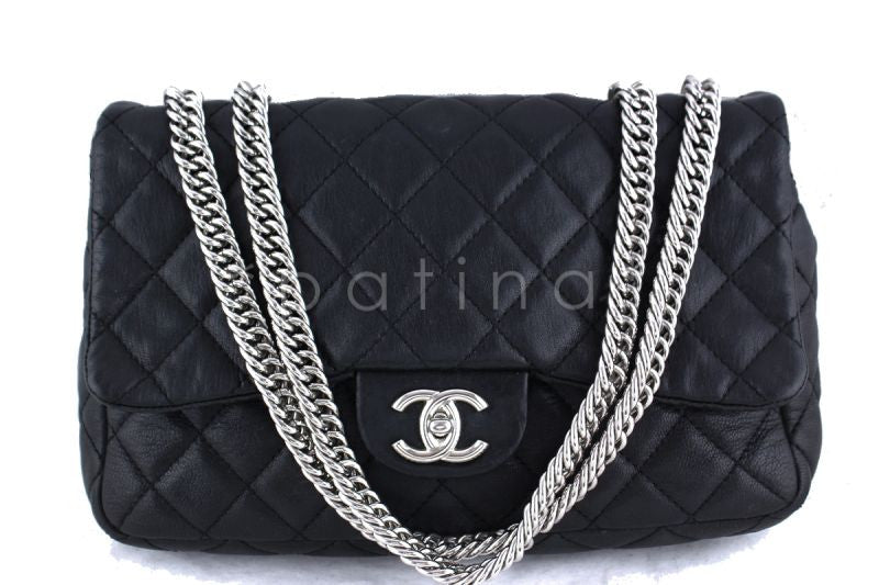 Chanel Black Lambskin Jumbo 2.55 Classic Flap Bag
