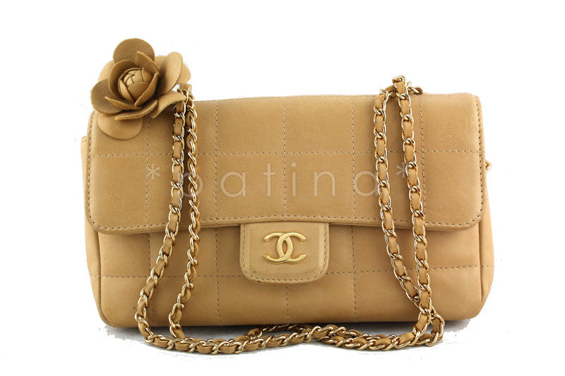 Chanel Beige Quilted Camelia Mini Flap Bag