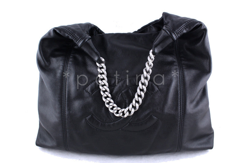 Chanel Black Large Soft Hobo Bag Chunky Chain, Rodeo Drive Bag