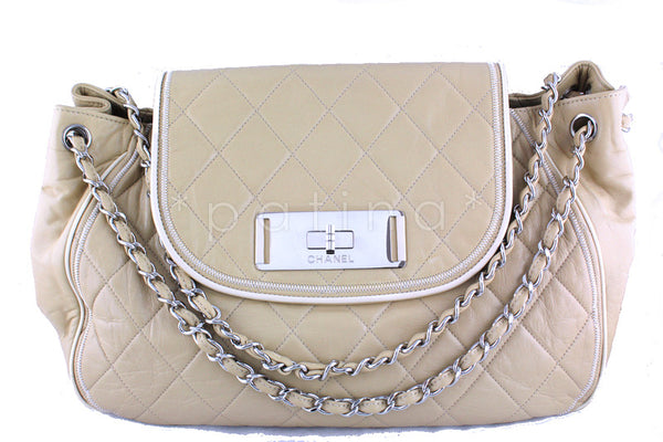 Chanel XL Beige 15in. East West Jumbo Flap Giant Reissue Clasp Bag