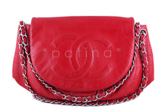 Chanel Red Caviar Half Moon Jumbo XL Timeless Flap Bag