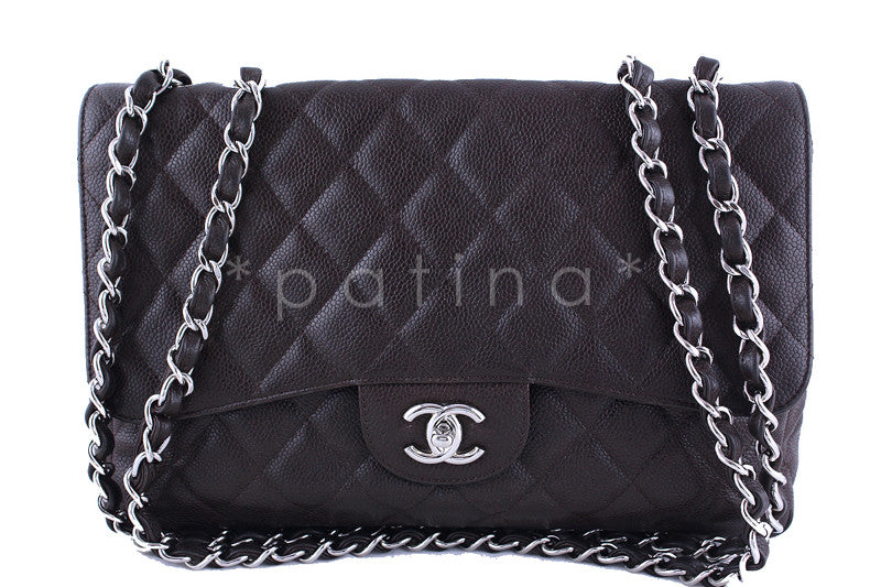 Chanel Dark Brown Caviar Jumbo 2.55 Classic Double Flap Bag