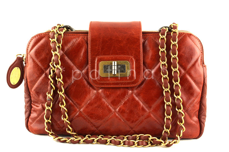 Chanel Brick Red Two-tone Reissue Lock Quilted GST Zip Shopper Tote Bag