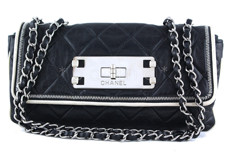 Chanel Black 10in. Flap, East West Giant Reissue Lock East West Bag