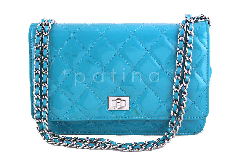 Chanel Turquoise Patent WOC Wallet on Chain Reissue Flap Classic Bag - Boutique Patina  - 1