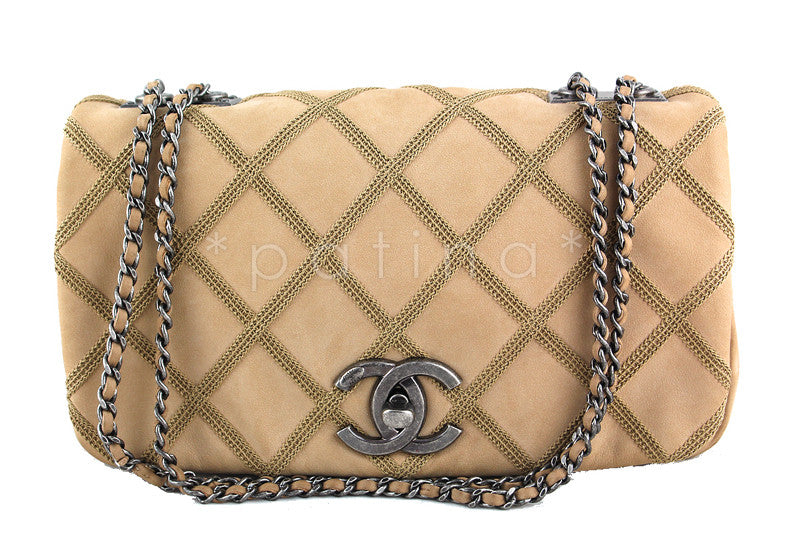 Chanel Beige 10in. Soft Antique Stitched Quilted Classic Flap Bag