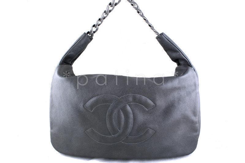 Chanel Gray 16in. Jumbo XL Flap Timeless Hobo Caviar 31 Bag