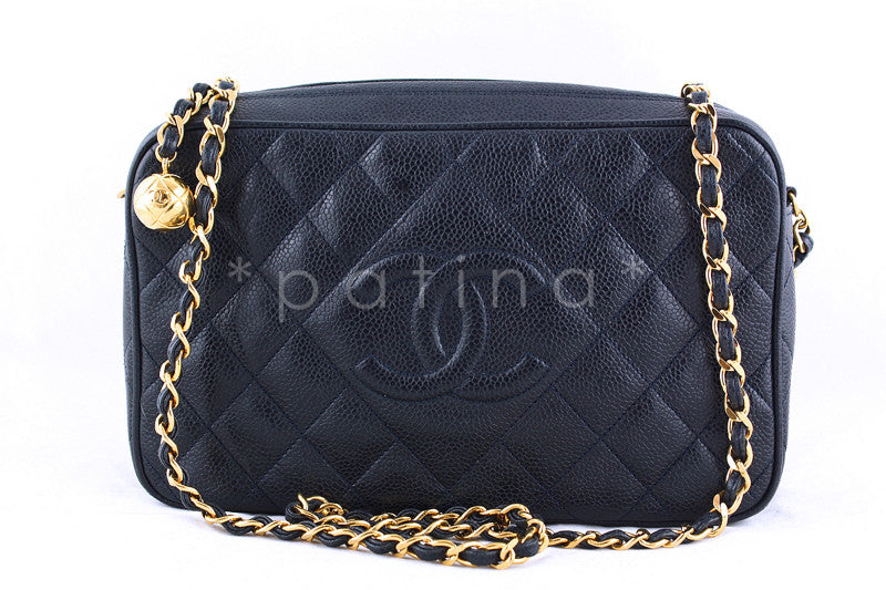 Chanel Navy Caviar Classic Quilted Camera Case Bag