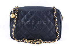 Chanel Navy Caviar Classic Quilted Camera Case Bag - Boutique Patina  - 1