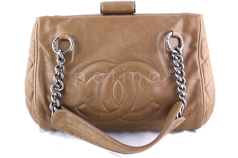 Chanel 14in. Beige Perfect Day Large Kisslock Luxe Tote Bag