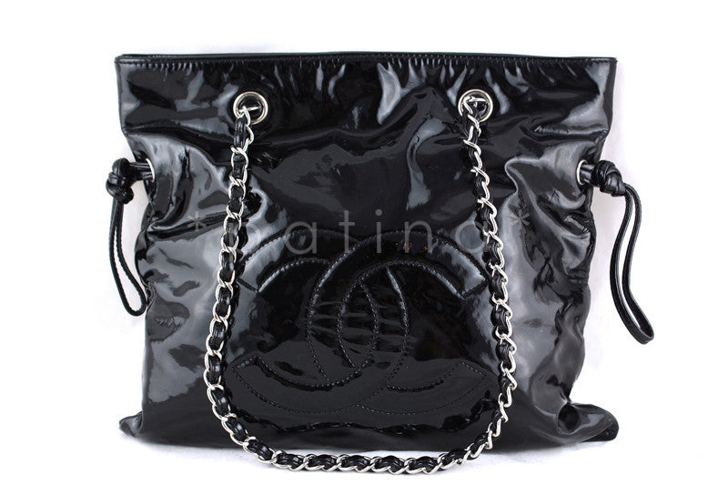 Chanel Black Patent Bon Bons Hobo Tote Bag
