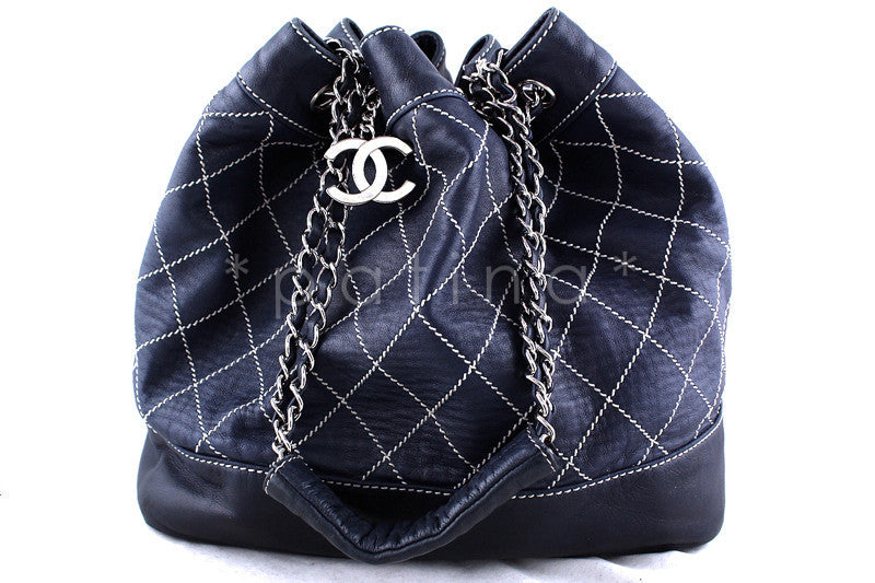 Chanel Navy Contrast Stitch Quilted Drawstring Tote Bag