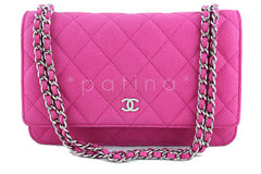 Chanel Fuchsia Pink Caviar Classic  WOC Wallet on Chain Flap Bag