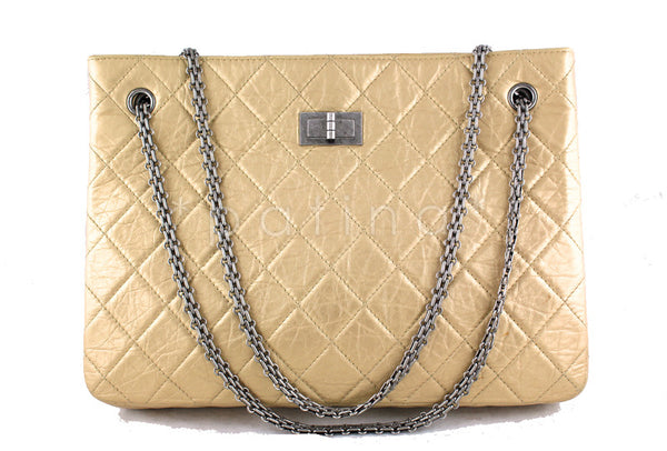 Chanel Pale Gold 2.55 Classic Large Reissue Shopper Tote Bag