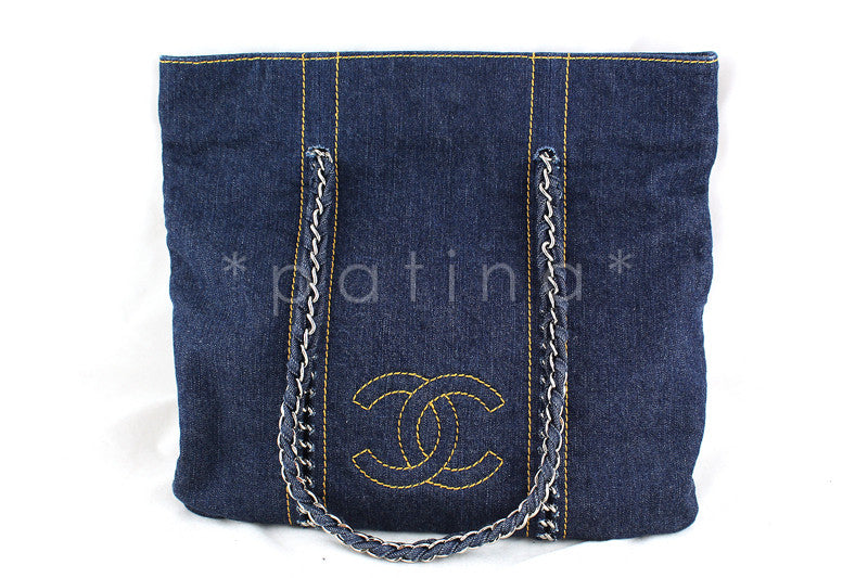 Chanel Blue Denim Luxury Ligne Vertical Tote Bag