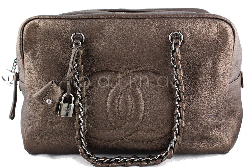 Chanel Bronze Soft Deerskin Luxury Ligne Jumbo XL Bowler Bag