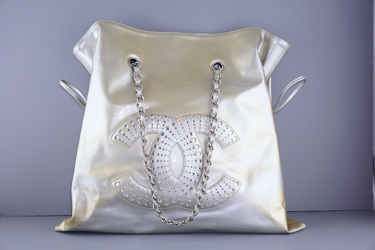 Chanel Silver-Gold Patent Lambskin Strass Crystals Bon Bons Tote Bag