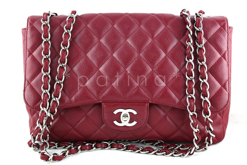 Chanel Red Caviar Jumbo 2.55 Classic Flap Bag