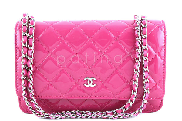 NWT 14S Chanel Fuchsia Pink Patent Classic Quilted WOC Wallet on Chain Flap Bag