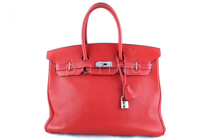 Hermes 35cm Vermillion (Red) Clemence Birkin Tote Bag