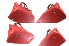 Hermes 35cm Vermillion (Red) Clemence Birkin Tote Bag - Boutique Patina  - 6