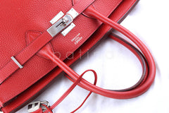 Hermes 35cm Vermillion (Red) Clemence Birkin Tote Bag - Boutique Patina  - 7