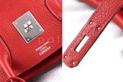 Hermes 35cm Vermillion (Red) Clemence Birkin Tote Bag - Boutique Patina  - 8