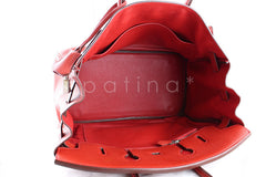 Hermes 35cm Vermillion (Red) Clemence Birkin Tote Bag - Boutique Patina  - 9