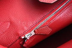 Hermes 35cm Vermillion (Red) Clemence Birkin Tote Bag - Boutique Patina  - 10