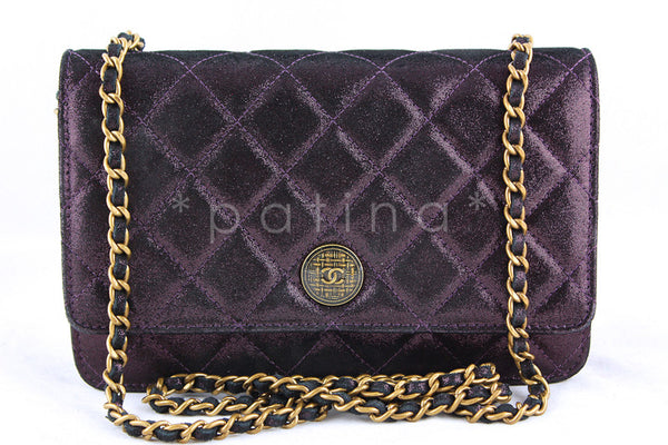Chanel Plum Violet Classic Quilted WOC Wallet on Chain Flap Bag