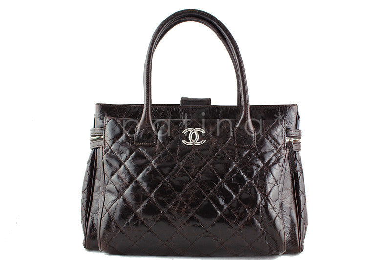 Chanel Dark Chocolate Classic Quilted Executive Tote, Glazed Cerf Brief Bag