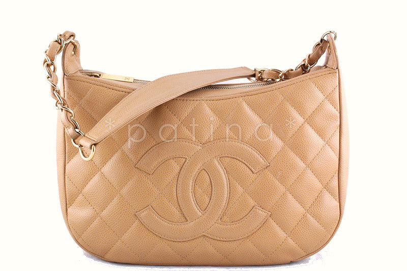 Chanel Beige Caviar Quilted Hobo Shopper Bag
