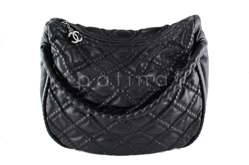 Chanel Black Hidden Chain Soft Quilted Hobo Tote Bag
