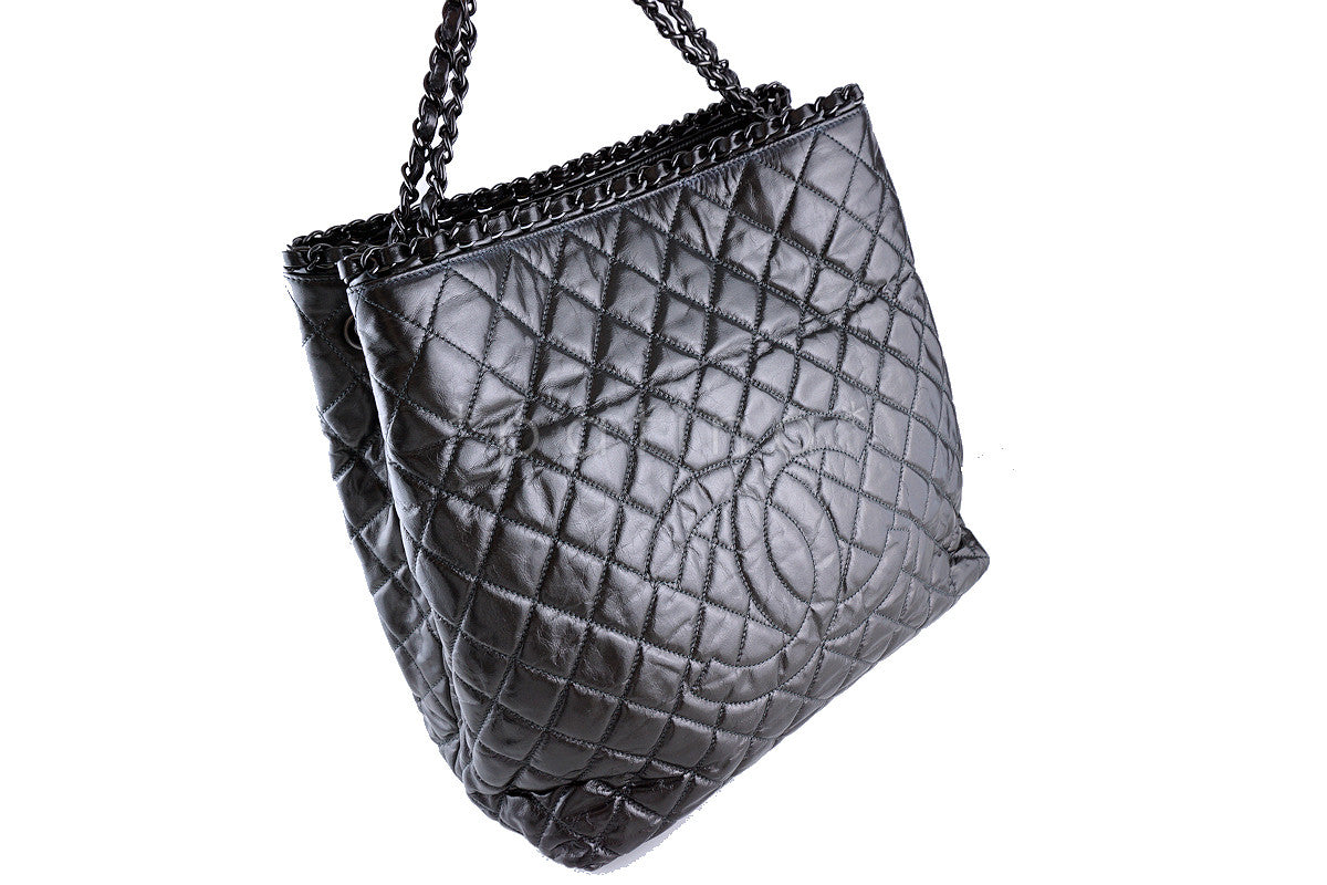 "Chanel Metallic Gray ""Chain Around"" Timeless Jumbo XL Giant Tote Bag"