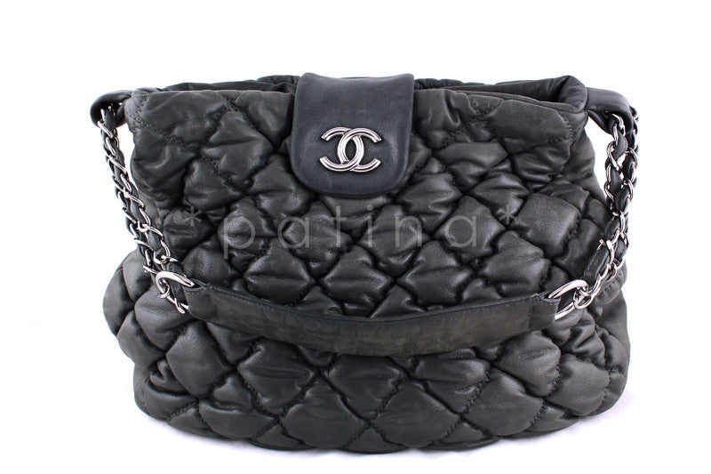 Chanel Gray Large Bubble Quilt Shopper Tote Bag