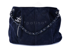 Chanel Navy Blue Luxury Stitched Large Hobo Tote Bag