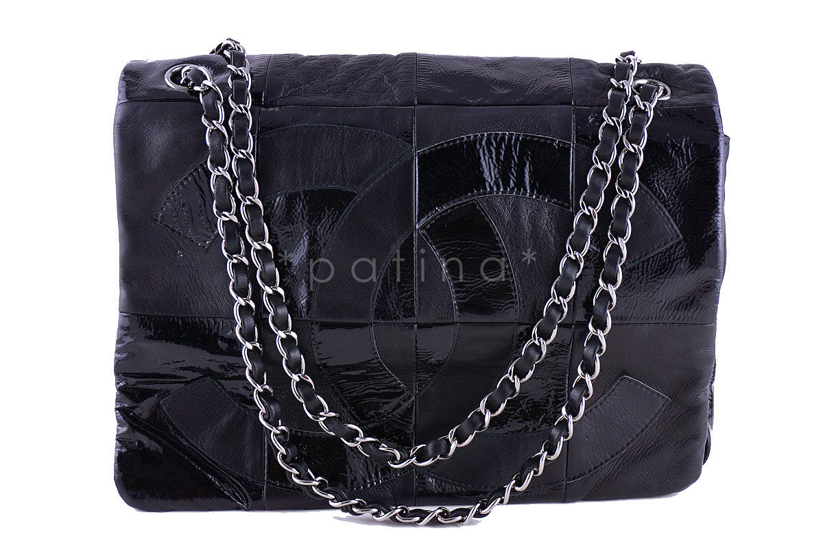 6ad74b42337d Chanel Black Patent Brooklyn Patchwork Flap Bag