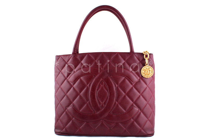 Chanel Burgundy Red Caviar Classic Quilted Medallion Shopper Tote Bag