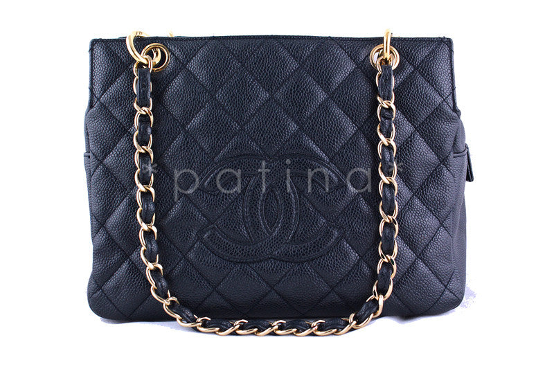 Chanel Navy Blue Caviar Quilted Timeless Shopper Tote Bag Small GST - Boutique Patina  - 1