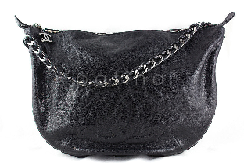 Chanel Black XL Glazed Caviar Luxury Ligne Modern Chain Hobo Bag