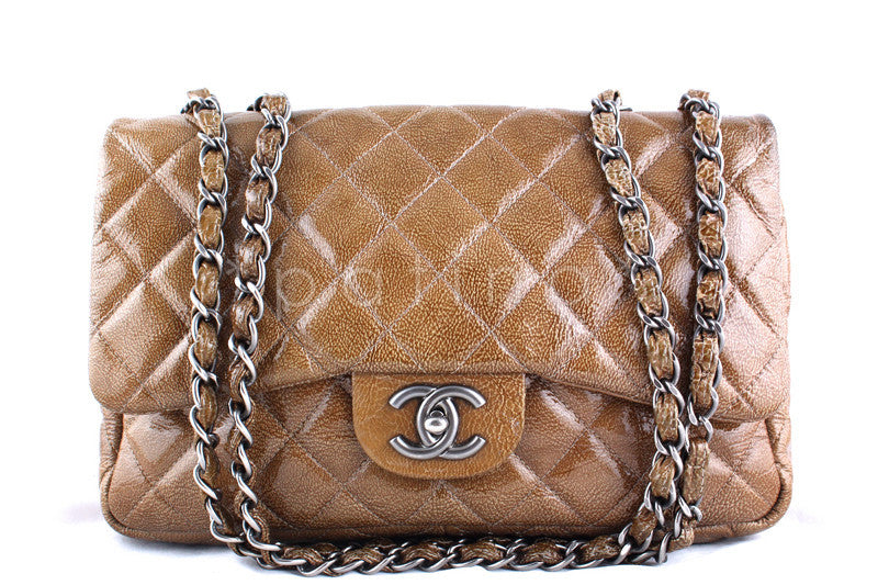 Chanel Camel Beige Patent  Jumbo 2.55 Classic Flap Bag - Boutique Patina  - 1