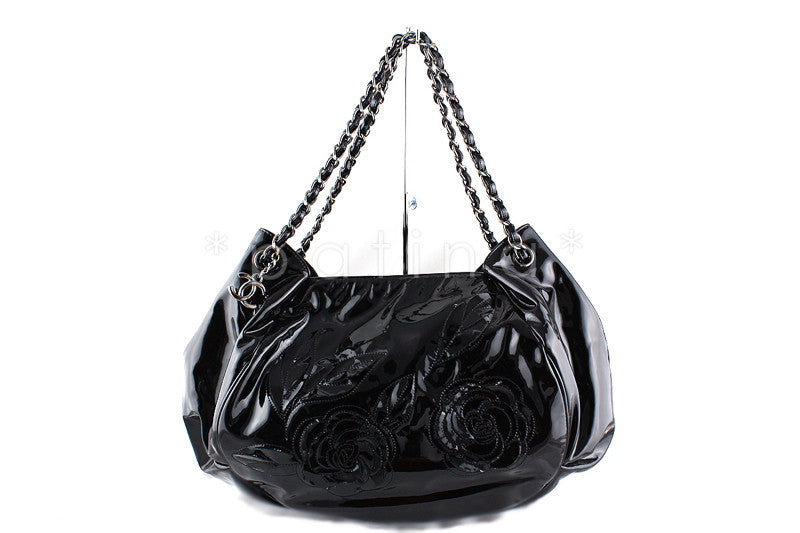 RARE Chanel Black Ltd. Edition Patent Camelia Petals Tote Bag